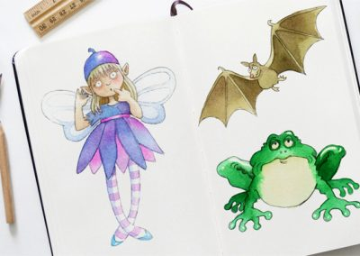 Watercolour character sketches for children's book