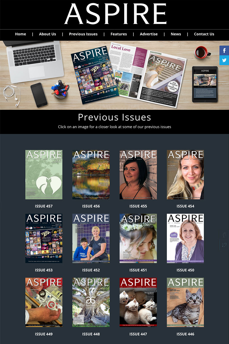 Aspire Magazine Website Page 1